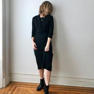 vintage black long sleeve wool midi cocktail dress